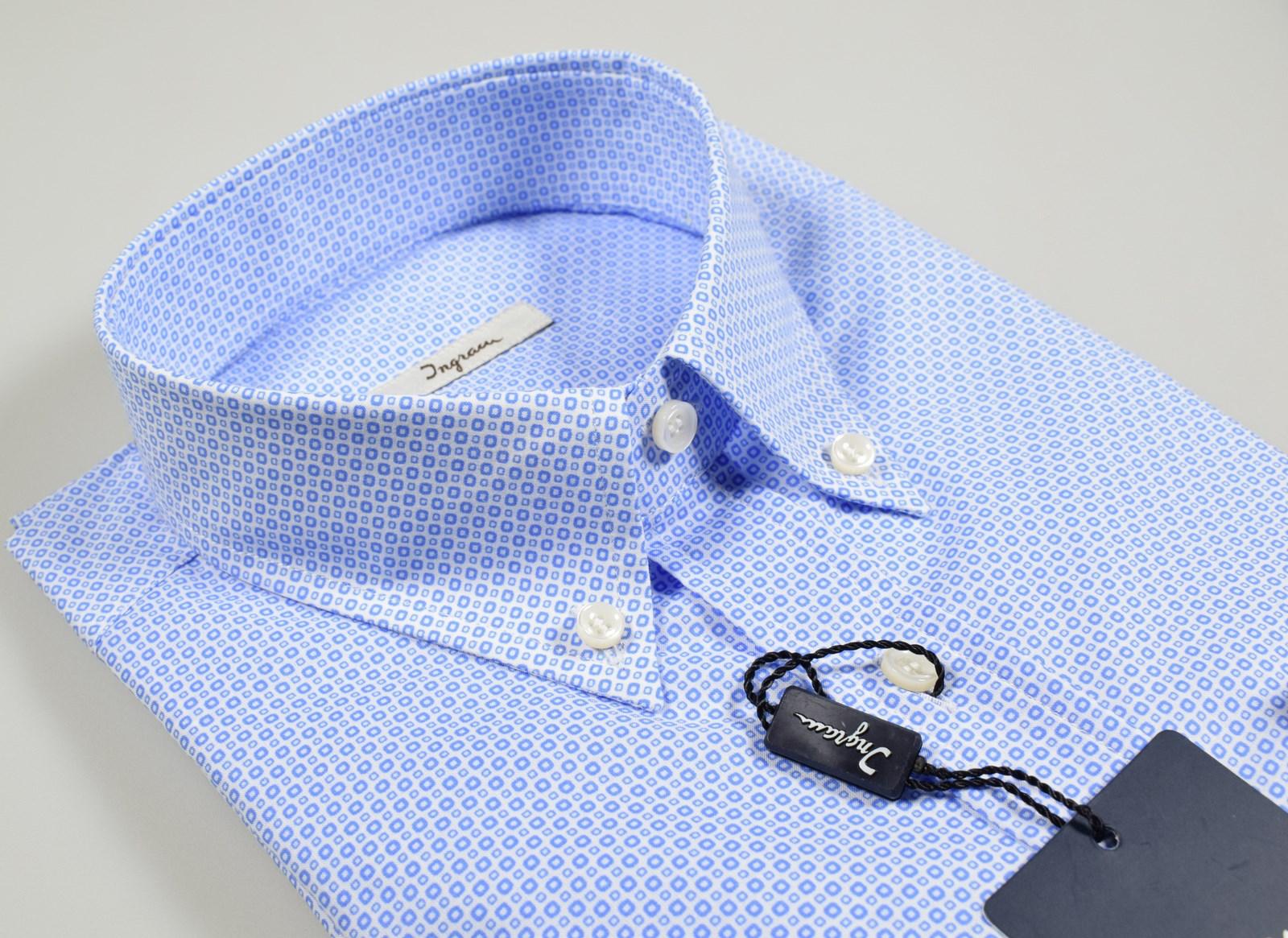 huge selection of b42ee 2fe80 Dettagli su Camicia Ingram Regular Fit Button Down con Taschino Cotone  fantasia Azzurra